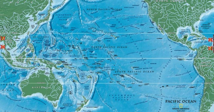 hawaii pacific ocean map National Geographic Giant Traveling Map Comes To Hawaii Maui Now hawaii pacific ocean map