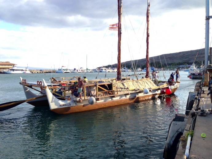 Hokulea at Māʻalaea. File photo June 2013, courtesy  Jordan Smith.