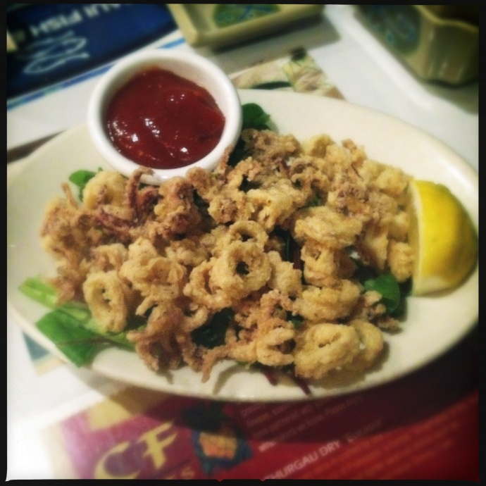 "Calamari with ""Japanese"" cocktail sauce. Photo by Vanessa Wolf"