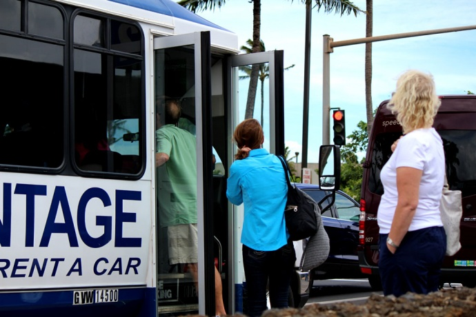 Car Rental pickup at Kahului Airport. Photo by Wendy Osher.