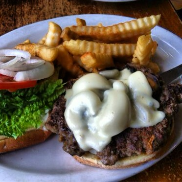 The Mushroom Swiss Burger comes with fries or mac salad: pick the mac salad. Photo by Vanessa Wolf