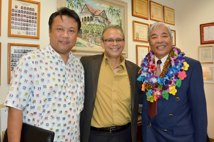 Mayor Arakawa's Chief of Staff Herman Andaya and Executive Assistant Mike Molina with House Representative Romy Cachola before the joint session of the Senate Ways and Means Committee and the House Finance Committee on Oahu. (1.15.14)