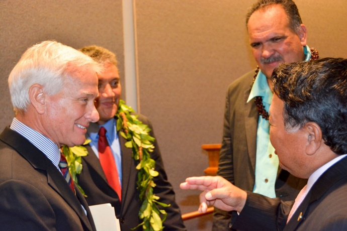 From L to R: Mayors Kirk Caldwell (Oahu), Billy Kenoi (Hawaii), Bernard Carvalho (Kauai) and Alan Arakawa talk story before the joint session of the Senate Ways and Means Committee and the House Finance Committee on Oahu. (1.15.14) Photo courtesy County of Maui.