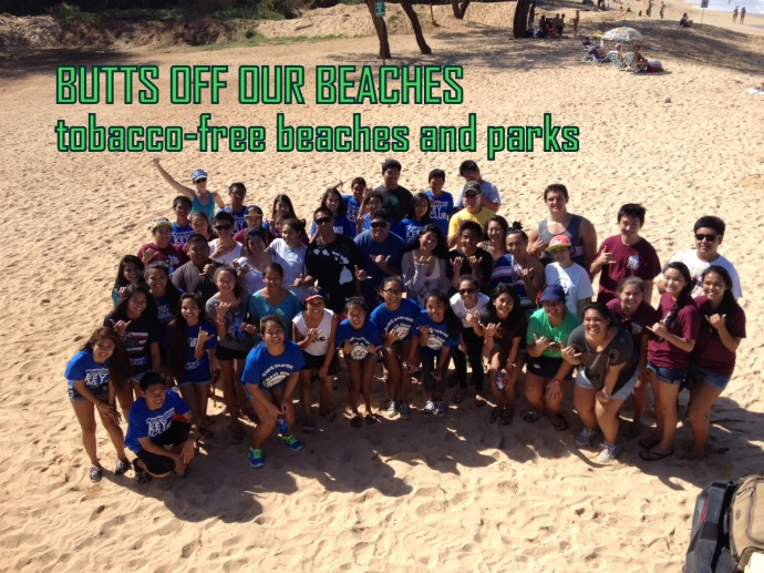 Students and Teachers from high schools across island chipped in to clean Hana Bay, Baldwin Beach, Kahului Harbor, Waiehu, Olowalu, Canoe Beach and Sugar Beach.  When Maui's High School students counted all the cigarette butts they had collected, the total came to over 14,000 cigarette butts collected in just two hours. Courtesy photo.