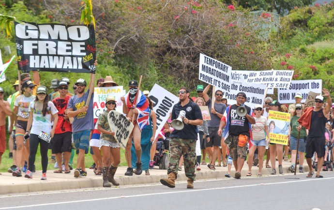More than 1,000 marchers participated in the Anti-GMO event.  Pictured at center is Dustin Barca in the camouflage pants and bullhorn.  Photo by Rodney S. Yap.