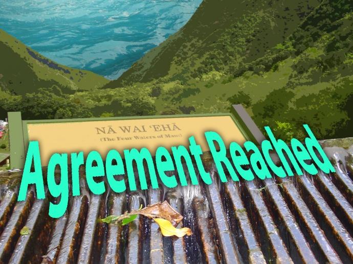 Nā Wai ʻEhā, agreement reached. Image/graphics by Wendy Osher.