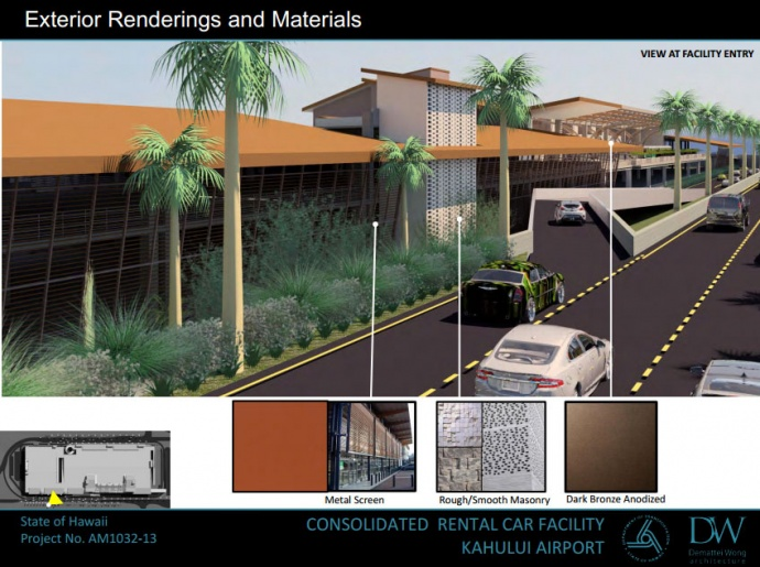 Kahului Airport Consolidated Rental Car Facility, rendering courtesy state Department of Transportation.