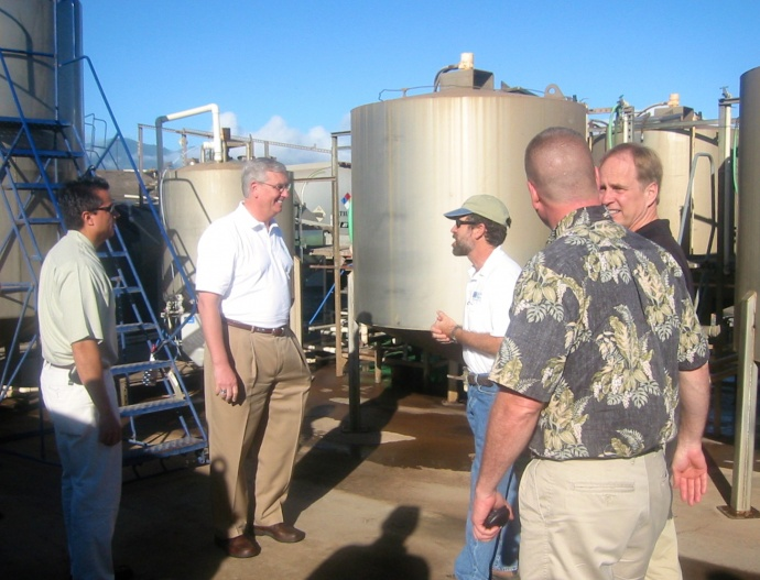 EPA Director Stephen Johnson (second from left) visits Pacific Biodiesel's Maui plant in 2006 with regional directors. Courtesy photo.