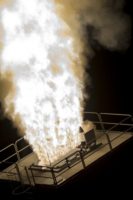 The Aegis Ashore Weapon System launched an SM-3 Block IB guided missile from the land-based Vertical Launch System during a Missile Defense Agency and U.S. Navy test from Kauai, Hawaii. DOD photo.