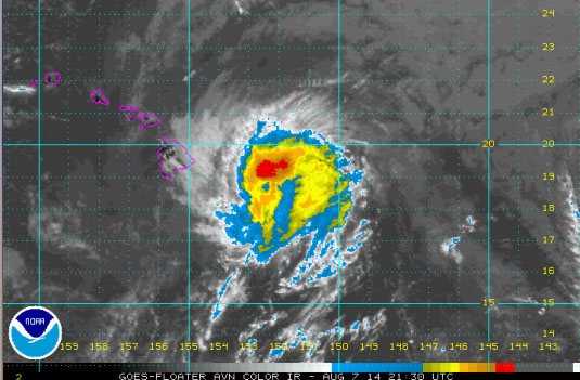 Mid-day imagery as Iselle begins impacting Hawaiʻi Island - 08.07.14. File image courtesy CPHC/NOAA/NWS.