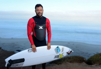 Surfer Sunny Garcia in action at Baja Malibu Break on September 26, 2014 in Baja California, Mexico. Courtesy photo by Donald Miralle for Xterra.