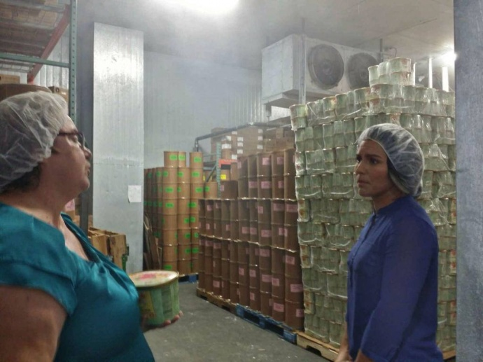 Rep. Gabbard is guided by Cathy Nobriga through at tour of the Maui Soda and Ice Works facility as she learns about their small business model and local operation. 10/30/14, courtesy photo.