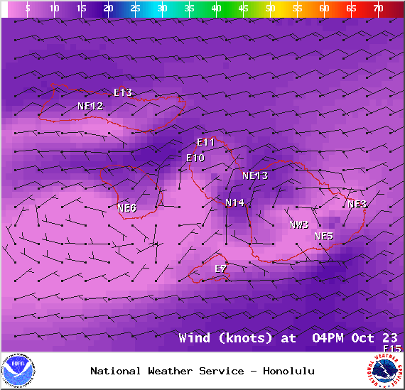 Map of expected winds in Maui County at 4pm on Thursday October 23, 2014 / Image: NOAA / NWS