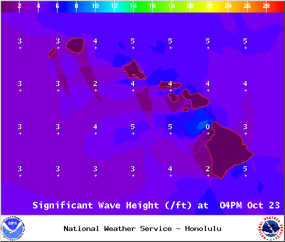 Expected wave heights on Thursday October 23, 2014 / Image: NOAA / NWS