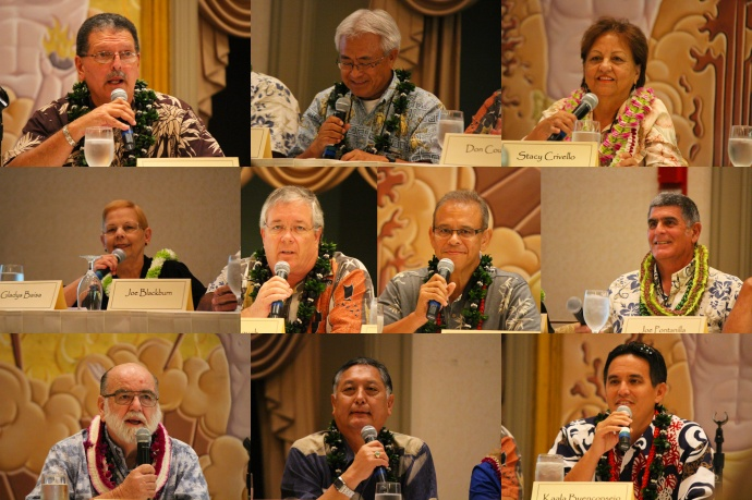 Candidates voicing opposition to GMO initiative. Top row (l to r): Mike Victorino, Joe Pontanilla, Stacy Crivello. Middle row: Gladys Baisa, Don Couch, Mike Molina, Joe Blackburn.  Bottom row: Robert Carroll, G Riki Hokama, and Kaʻala Buenconsejo. Photos by Wendy Osher.