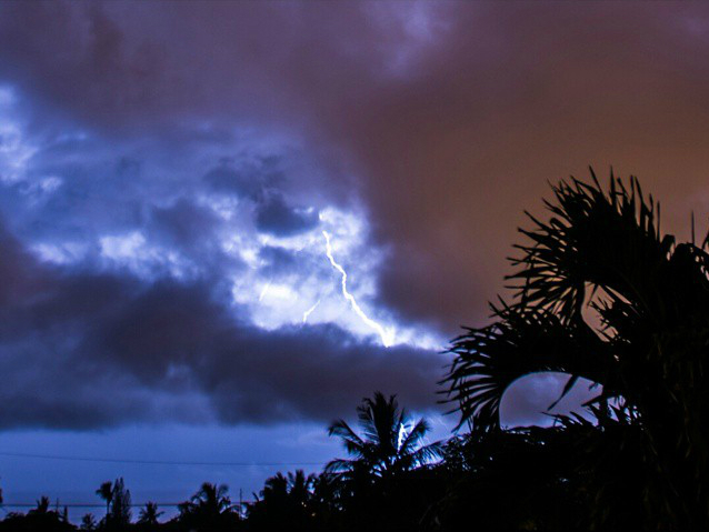 Hurricane Ana lightning over Maui Meadows 10/18/14 by Chris Archer.