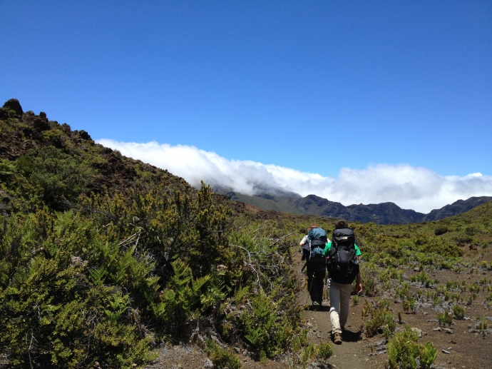 College inters on a backpacking trip. Photo courtesy Haleakalā National Park.