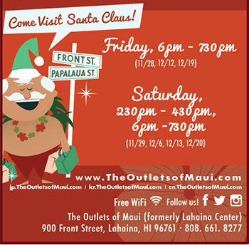 The Outlets of Maui Santa Claus flyer.