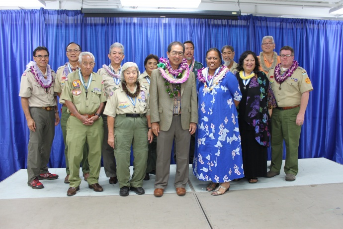 Past recipients of the Silver Beaver along with new recipients Hilton Unemori and Bonny Herbert. Front row : Ernest Okimoto, Emi Sakagawa, Hilton Unemori, Bonny Herbert, Marilyn Niwao Roberts, and Scott Neerings.  Back row: Herb Yuen, Fred Wong, Brian Kakihara, Grayce Dean, Danny Hong, Mike Ito and Brian Hashiro. Courtesy photo.