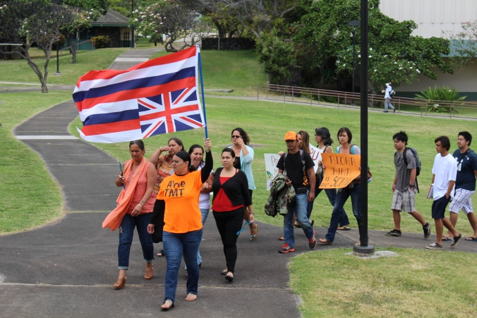 A group of students and faculty with the Hawaiian Studies department at the University of Hawaiʻi Maui College staged a Walk Out for Mauna Kea event on Monday, April 13, in opposition to the Thirty Meter Telescope project on the Big Island of Hawaiʻi. Photo by Wendy Osher.