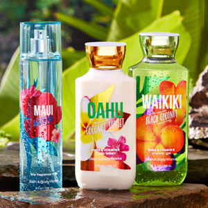 Maui Mango Surf and other Bath & Body Hawaiian Island themed products. Photo courtesy B&BW.