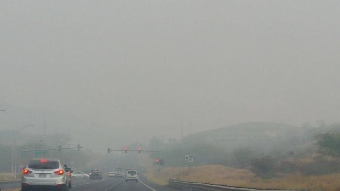 Cane smoke along the Piilani Highway in Kihei, May 27, 2015. Courtesy photo: Stop Cane Burning.