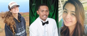 This year's Josh Jerman Scholarship winners are Sarah Jenkins from Moloka'i High School, Marc Pader from Lana'i High School and Ja'ie Victorine-Dyment from Hāna High and Elementary School