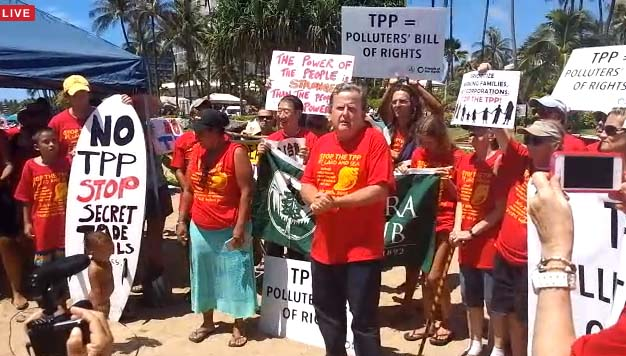 Kauaʻi Council Member Gary Hooser speaks at the Stop TPP Maui Press Conference. Photo credit: Nicholas Garrett.