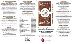 Restaurant Week Wailea 2015 menu options. Courtesy of Wailea Resort Association.