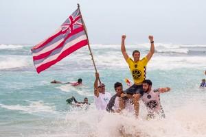 Hawai'i celebrates at the 2015 HIC Pro. Photo courtesy of World Surf League (WSL).