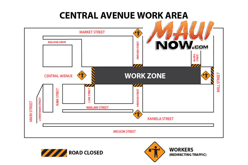 Central Avenue work area. Graphic credit: County of Maui.