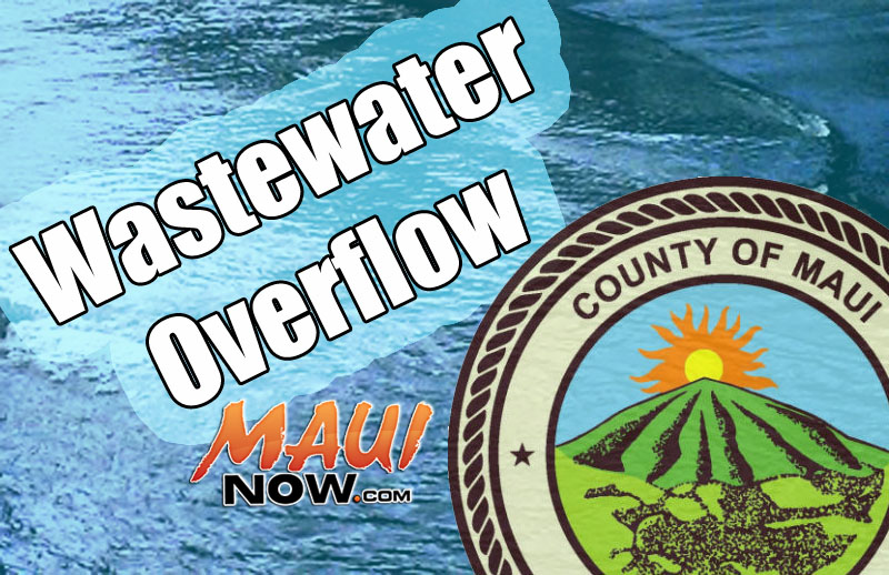 Wastewater overflow. Maui Now graphic.