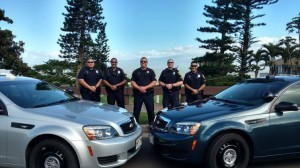 Pictured from left to right are current members of MPD's DUI Task Force Unit: Officer Alvin Ota, Officer Kunal Chopra, Sergeant Nick Krau, Officer Aaron Mark, and Officer Jun Hattori.  Drive Sober or Get Pulled Over, 2015. Photo credit: Maui Police.