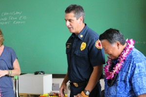 Fire Chief Jeff Murray and Maui Mayor Alan Arakawa. Dec. 14, 2015. Photo by Wendy Osher.