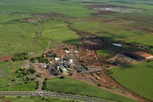 Alexander & Baldwin photo of HC&S Puunene mill and surrounding sugar fields.