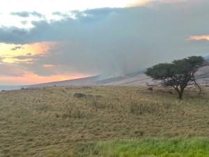 Kahikinui fire, photo taken at around 5:30 p.m. on Monday, Feb. 15, 2016, credit: Kalepa Farm.