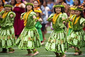 Hula dancers. May 2016 stock photo.