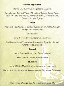 Hemplicious dinner menu. Courtesy image.