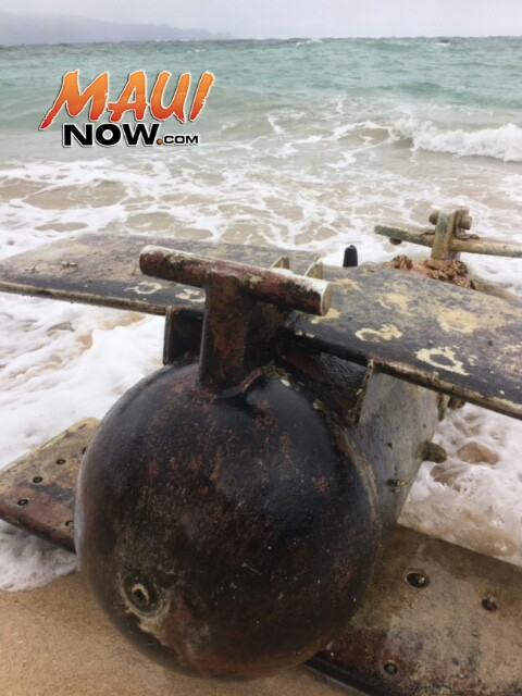 Possible Navy object washes ashore at Spreckelsville. 5.9.16. Photo credit: Eric Pung.