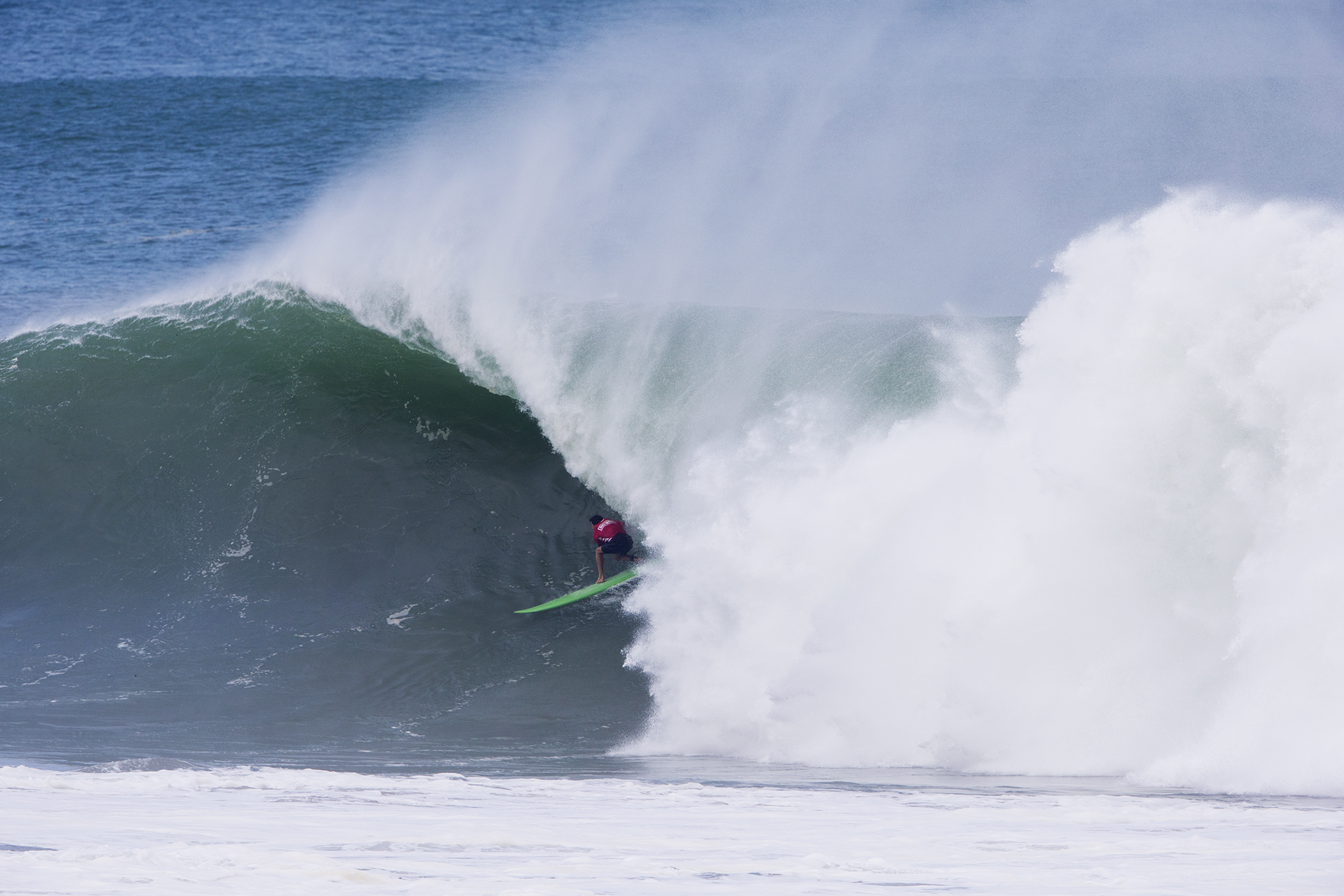 Current Big Wave World Champion Greg Long finds a beauty in the first heat of the day at Puerto Escondido Photo: Tony Heff/WSL
