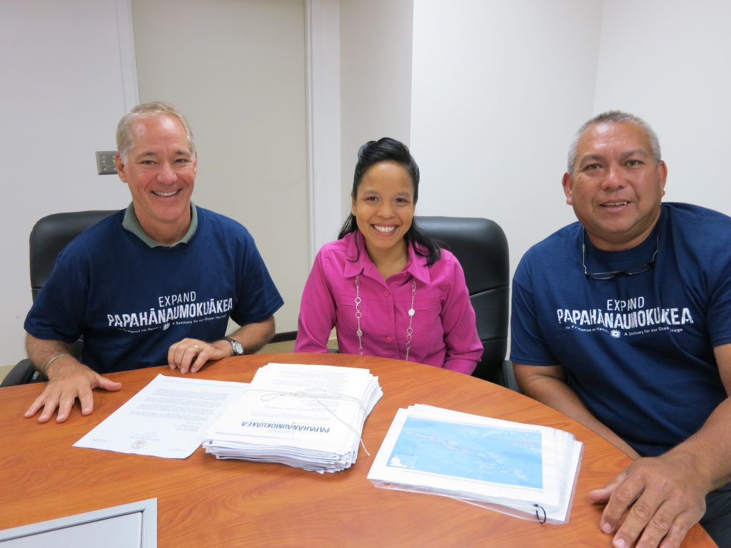 Rob Parsons, environmental coordinator, serving as a representative of Maui Mayor Alan Arakawa's office; Leah M. Belmonte, governor's representative, Maui Office of the Governor, State of Hawaii; and Jay Carpio, fisherman, Maui.