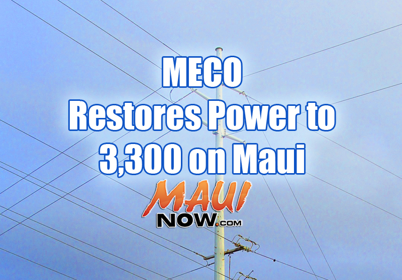 Maui power restoration. Maui Now graphic.