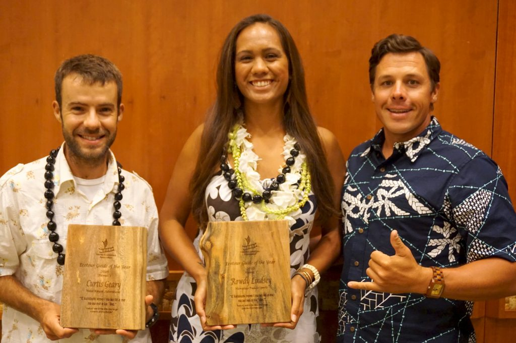 Curtis Geary of Maui Kayak Adventures and Rowdy Lindsey of Hawaiian Paddle Sports were awarded Maui Ecotour Guides of the Year by the Hawaii Ecoutourism Association. They are pictured with Timothy Lara, at right, who owns both companies. (Photo courtesy: Hawaiian Paddle Sports)