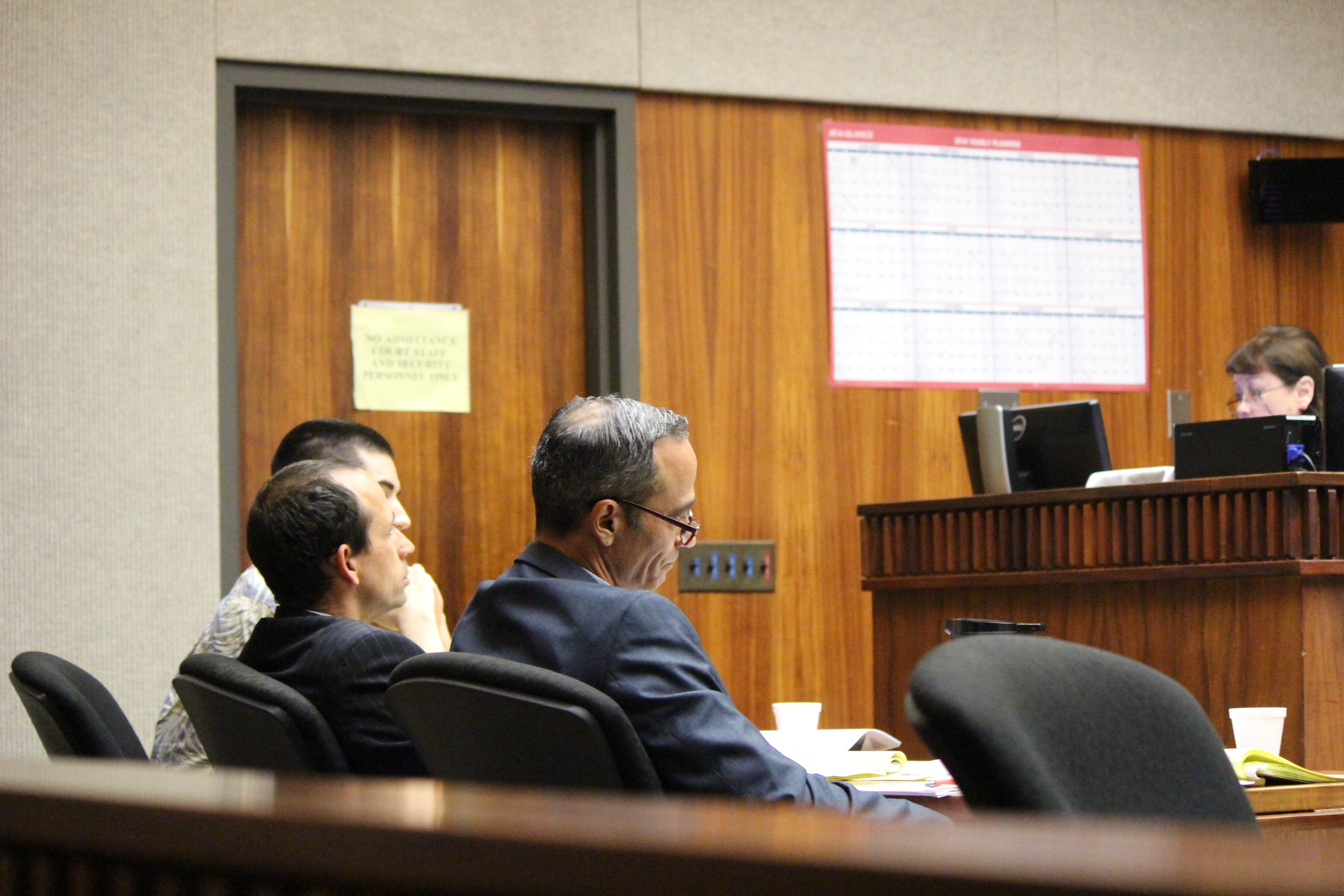 Defense team in State v Capobianco murder trial. Photo 11.29.16 by Wendy Osher.