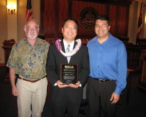 L-R: Retiring Supreme Court Justice Steven Levinson, award recipient Brian T. Moto and GLS Chair David A. Pendleton.  Photo Courtesy County of Maui.