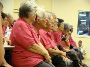 Dozens of senior citizens came out in support of Maui Economic Opportunity and funding requests to increase the Villager Route from every hour to every half hour for West Side residents who use public transportation.  Photo by Wendy Osher.