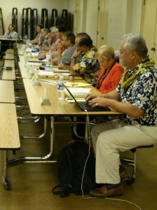The Maui Council Budget Committee visited the Lahaina Civic Center last night to hear testimony from West Side residents.  Further meetings are planned in Kihei, Pukalani, Hana and Lanai.  Photo by Wendy Osher.