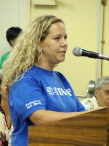 Program facilitators from the Boys and Girls Club of Maui addressed members of the Budget Committee in hopes of maintaining funding for youth programs.  Photo by Wendy Osher.
