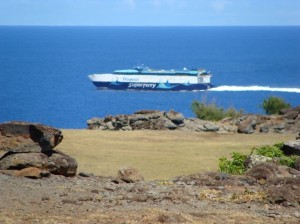 The Hawaii Superferry to depart from Maui at 11:15 a.m. on a final voyage before the company suspends service and lays off 236 workers.  Photo by Wendy OSHER © 2009