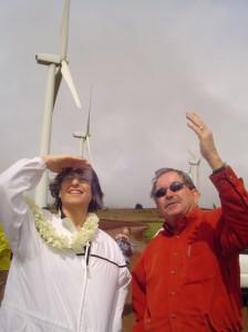 (File Photo:  Governor Linda Lingle visits the Kaheawa Windfarm on Maui in 2008.  Photo by Wendy OSHER)